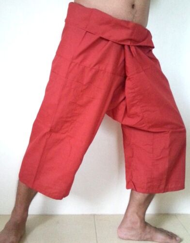 YOGA Massage Thai Fisherman Trousers Pants 3//4 Length Pocket Wrap Men /& Women