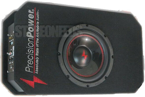 """PRECISION POWER SNBX.8 LOADED 8/"""" SUBWOOFER VENTED ENCLOSURE BOX 600W AMPLIFIER"""