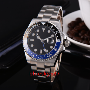 40mm-PARNIS-steril-black-dial-Pepsi-Luenette-Sapphire-GMT-Automatisch-Uhr-watch