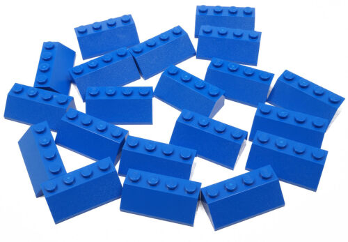 LEGO 20 x Dachstein//Pietre Tetto 45 gradi 2x4 Blu//Blue Slope//3037 Merce Nuova