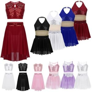 Kids-Girls-Contemporary-Costume-Lyrical-Dance-Dress-Sequins-Ballet-Latin-Leotard