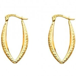 14k Yellow Gold UShape Hoop Earrings