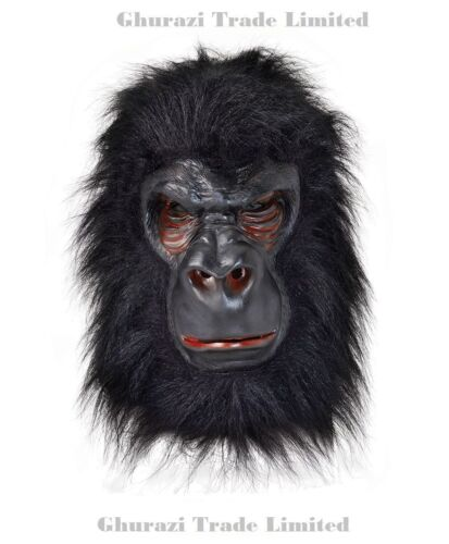GORILLA DELUXE LATEX RUBBER MASK FEET FANCY DRESS KING KONG MONKEY ADULT HANDS