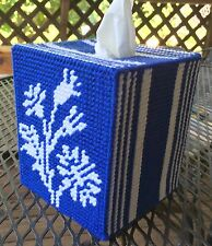 Stripe Flower Tissue Cover  handmade Boutique size canvas & acrylic yarn