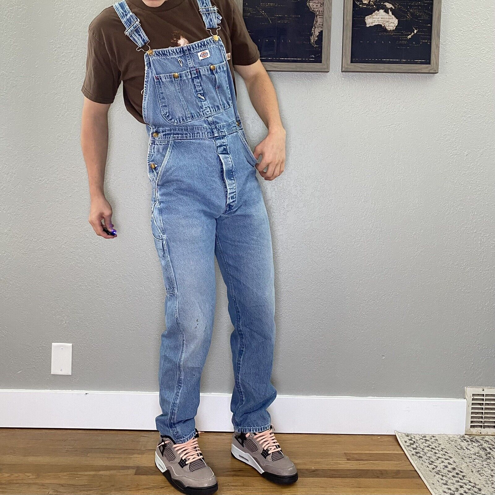 mens 34x32 light wash dickies overalls - image 1
