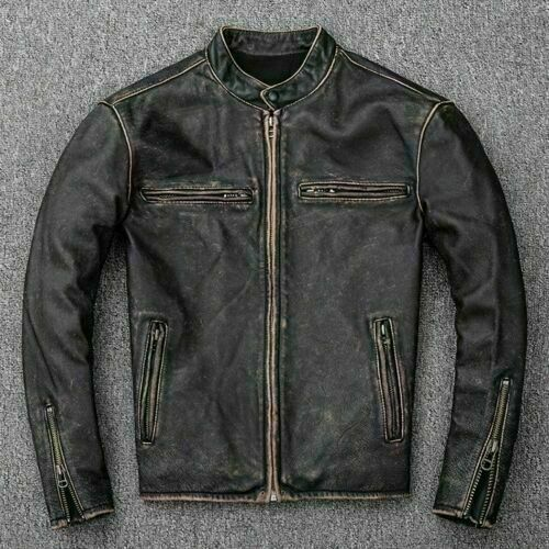 38b939995 Men's Motorcycle Biker Vintage Distressed Black Faded Real Leather Jacket