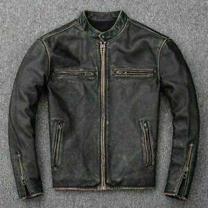Men-039-s-MOTO-MOTARD-vintage-effet-vieilli-noir-delave-Vrai-Veste-en-cuir