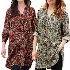 UK-Sizes-6-24-Ladies-Long-Paisley-Shirt-Tunic-Blouse-top-Red-Green-EU-34-52
