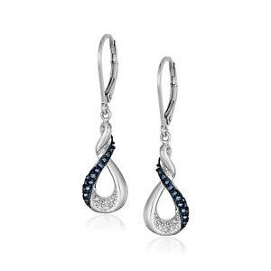 1/5 ct Blue & White Diamond Infinity Twist Earrings in Sterling Silver