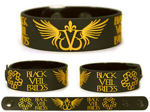 BLACK-VEIL-BRIDES-Rubber-Bracelet-Wristband-Wretched-and-Divine-In-the-End-Gold