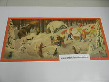 Swedish Christmas Poster Print Tomte in the Forest with Animals #540-BK30