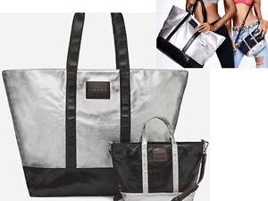 Image Is Loading Victoria Secret Silver Black Weekender Tote Amp Matching