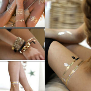 Temporary-Gold-Tattoo-Leaf-Metallic-Products-jewelry-Henna-Body-Tatto-Sticker-PB