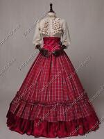 Civil War Victorian Western Tartan 3pc Dress Ball Gown Theater Reenactment K001