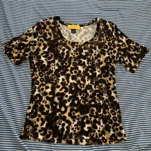 St John Leopard Prink T Shirt with gold detail