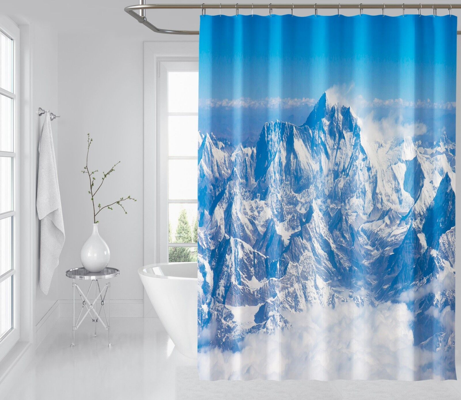 3D Weiss Mountain 45 Shower Curtain Waterproof Fiber Bathroom Windows Toilet 815d89