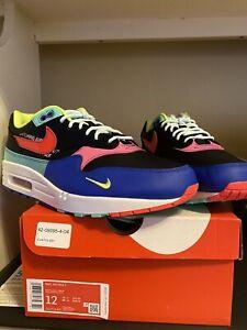 Men S Nike Air Max 1 Black Hyper Grape Hyper Royal Laser Crimson Sz 12 Ebay
