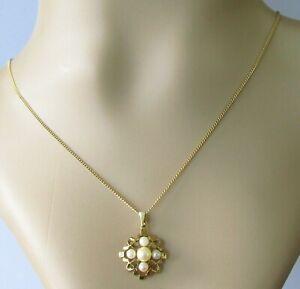Collar de Oro de 9ct - 9ct Cadena Colgante Perla Oro Amarillo (3.9g)