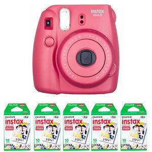 Fujifilm Fuji instax mini 8 Raspberry Red Instant (Polaroid)Camera ...