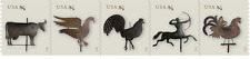 2012 45c Weather Vanes, Rooster, Cow, Strip of 5 Scott 4613-4617 Mint F/VF NH