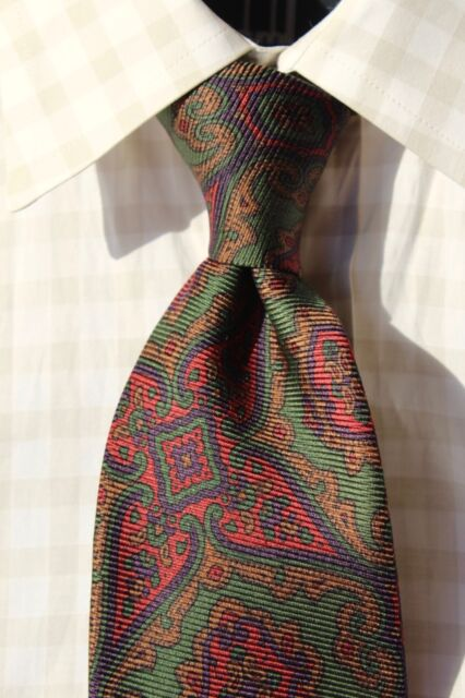 Polo Ralph Lauren Green, Blue, Red, & Brown Paisley Silk Tie - USA - $125.00