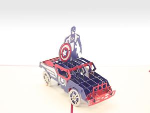 Captain America Marvel Super Hero Pop Up Boy Birthday Invitation Greeting Card