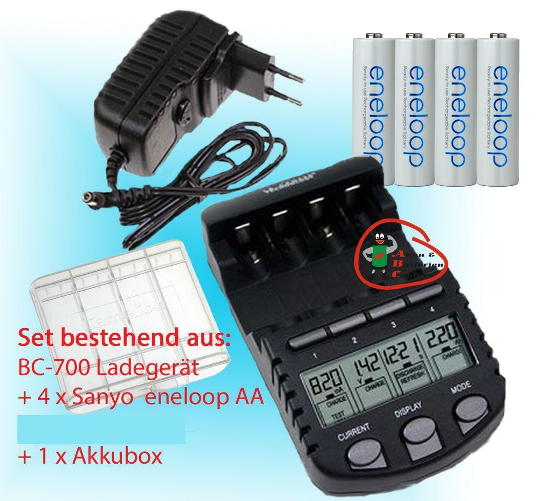 BC700 Schnell-Ladegerät + 4x Panasonic Eneloop AA Akkus 1,2V / 1900mAh + Akkubox