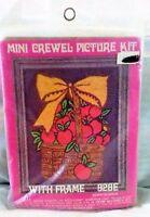 Vintage Crewel Mini Kit Needlepoint Craft Country Apple Basket & Frame 928e