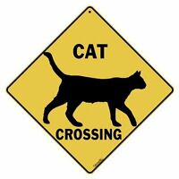 Cat Silhouette Crossing 12 X 12 Aluminum Sign, New, Free Shipping on sale