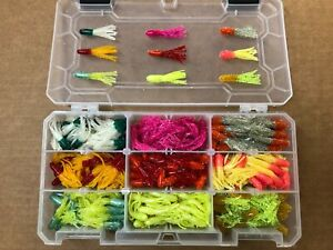 """225 piece 1.5"""" Dipped Crappie Tube Kit, Soft Plastic Jig Assortment, Pan Fish US"""
