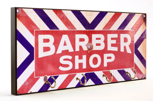 Vintage Red White /& Blue Barber Shop Sign Key Hanger