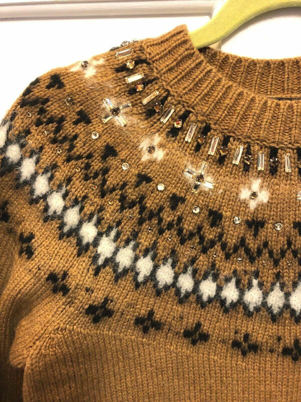 NEW J CREW Womens Jewel Embellish Embellish Embellish Fair Isle Sweater Dress Camel Grey XS S  148 c2851a