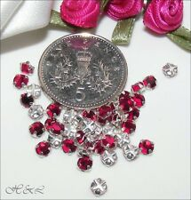 25 Swarovski ss20 Fuchsia Pink Vintage Crystal Rose Montees Sew On ss plate 20ss