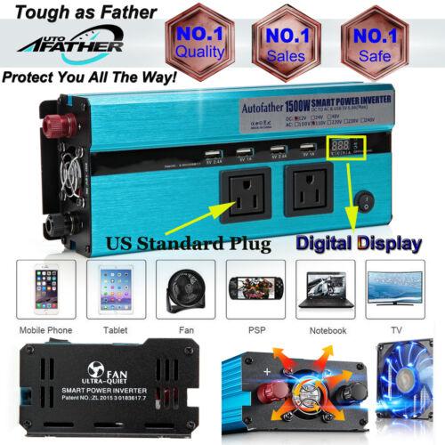 1500W//3000WATT Dual DC 12V to 110V AC Outlets Power Inverter Car Adapter 4 USB
