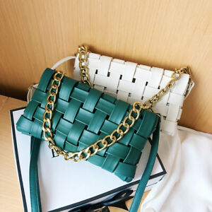 2-Way-Woven-Faux-Leather-Chunky-Chain-Shoulder-Bag-Crossbody-Purse-Clutch-Small