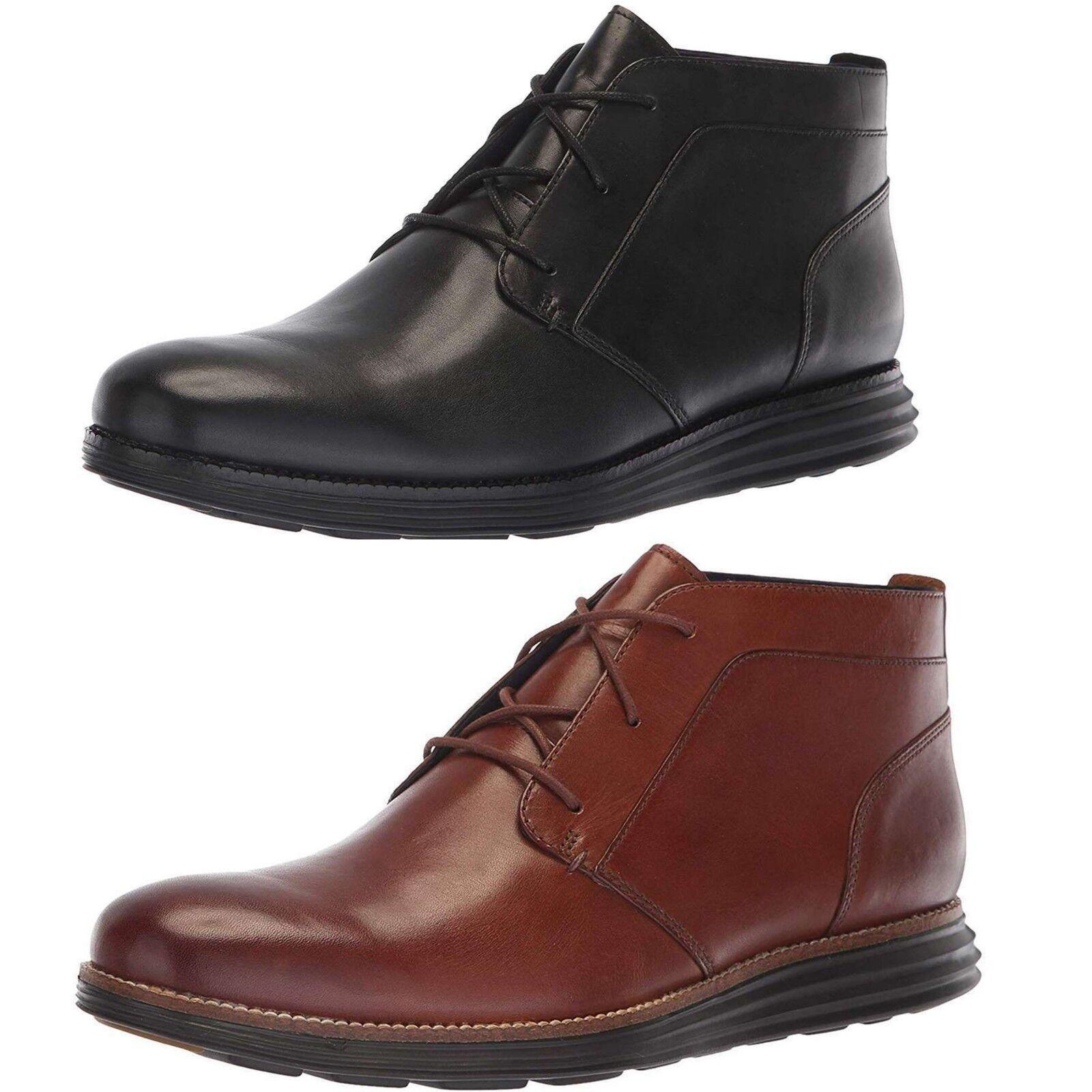 NEW Cole Haan Men OriginalGrand Chukka Boots Premium Leather Black Casual shoes