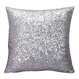 Solid-Farbe-Glitter-Pailletten-Kissen-Home-Decor-Kissen-Fall-Silber-S6J1
