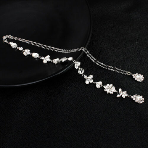 New Crystal Pearl Back Drop Necklace Wedding Bridal Long Back Necklace Pendant