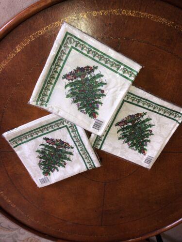 SPODE CHRISTMAS TREE HOLIDAY XMAS NAPKINS SET OF 4