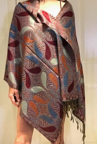 Gorgeous Pashmina /& Silk Paisley Shawl//Wrap//Scarf 4