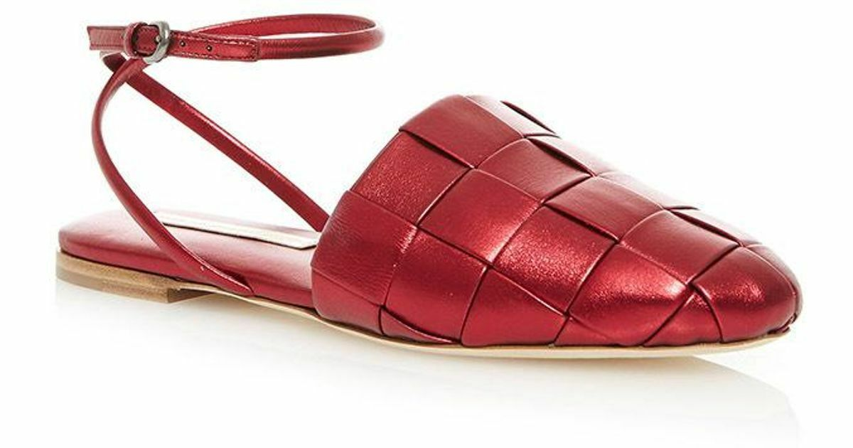 Marco de Vincenzo Red Laminated Nappa Flat shoes Size 40 US 10  UK  828