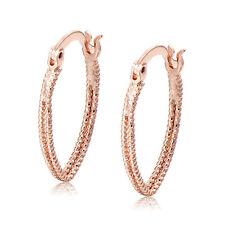 Oval Lucky Leverback Hoop Earrings 18K GP Rose Gold Filled  Earings Wholesale