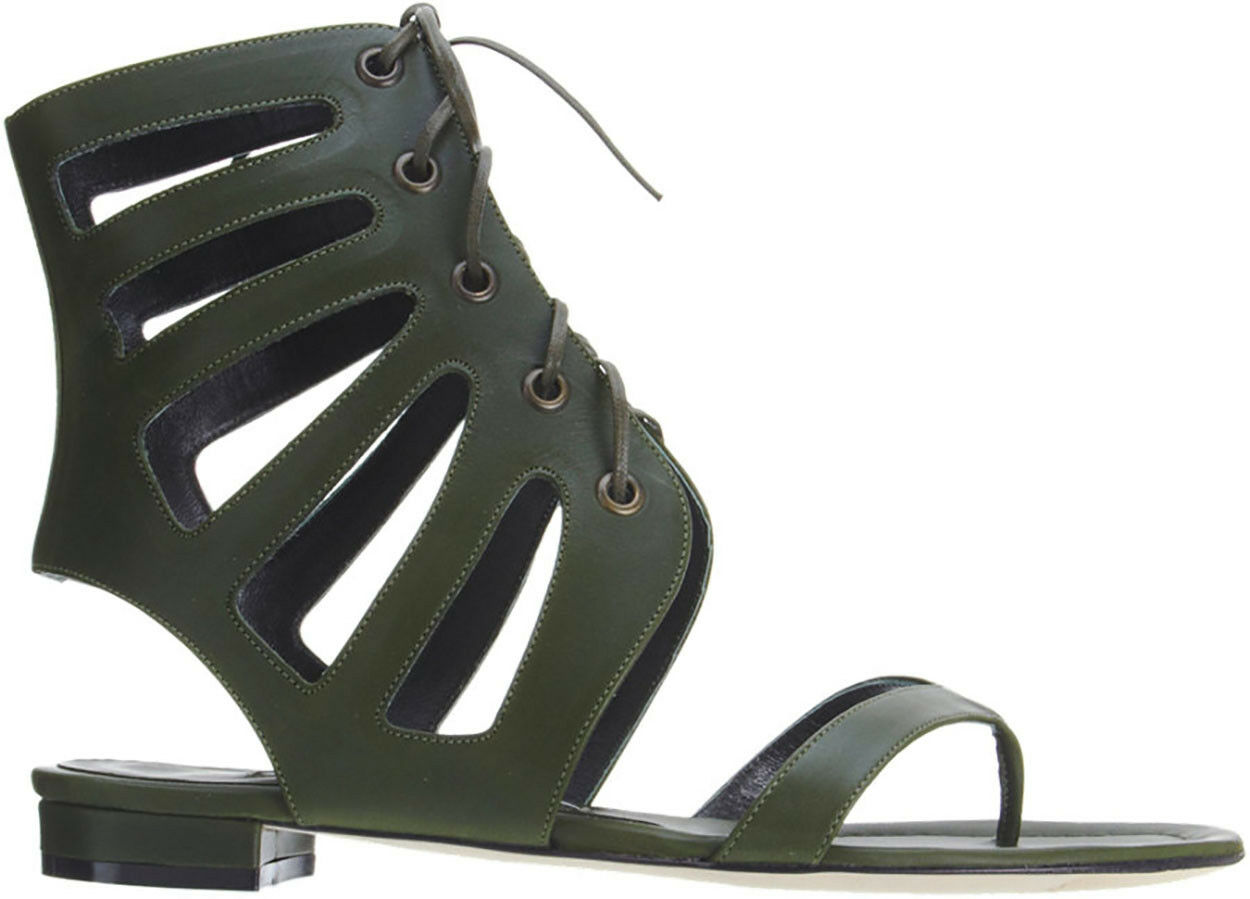 Manolo Blahnik Vestala Olive GLADIATOR Lace Up Thong High Sandal Sandal Sandal New 42 96de3d