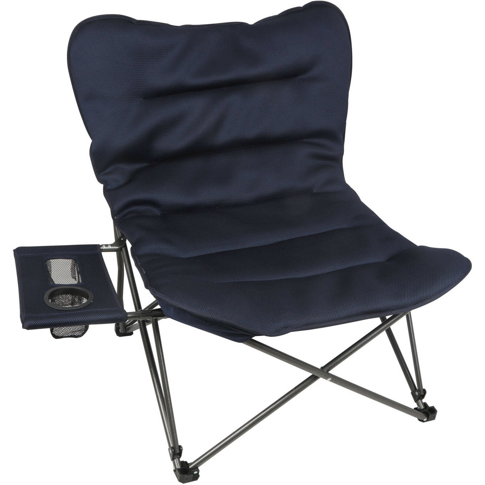 Camp Chair Portable Folding Oversize Plush Seat for Fishing Sports w  Side Table