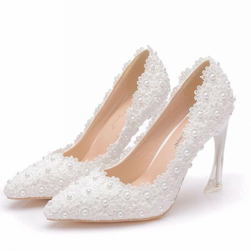 Damen Stilettos 9cm Heel Schlupf Pumps Spitz Hochzeit Braut Perle & Spitze Weiß