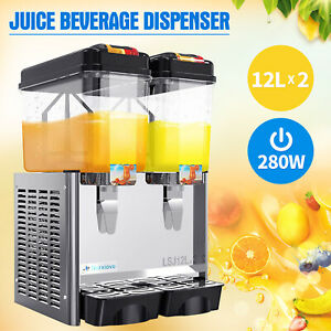 Commercial-2-Tank-Juice-Beverage-Dispenser-Cold-Drink-w-Thermostat-Controller