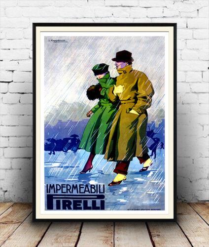 Vintage advertising Poster reproduction. Impermeabili Pirelli