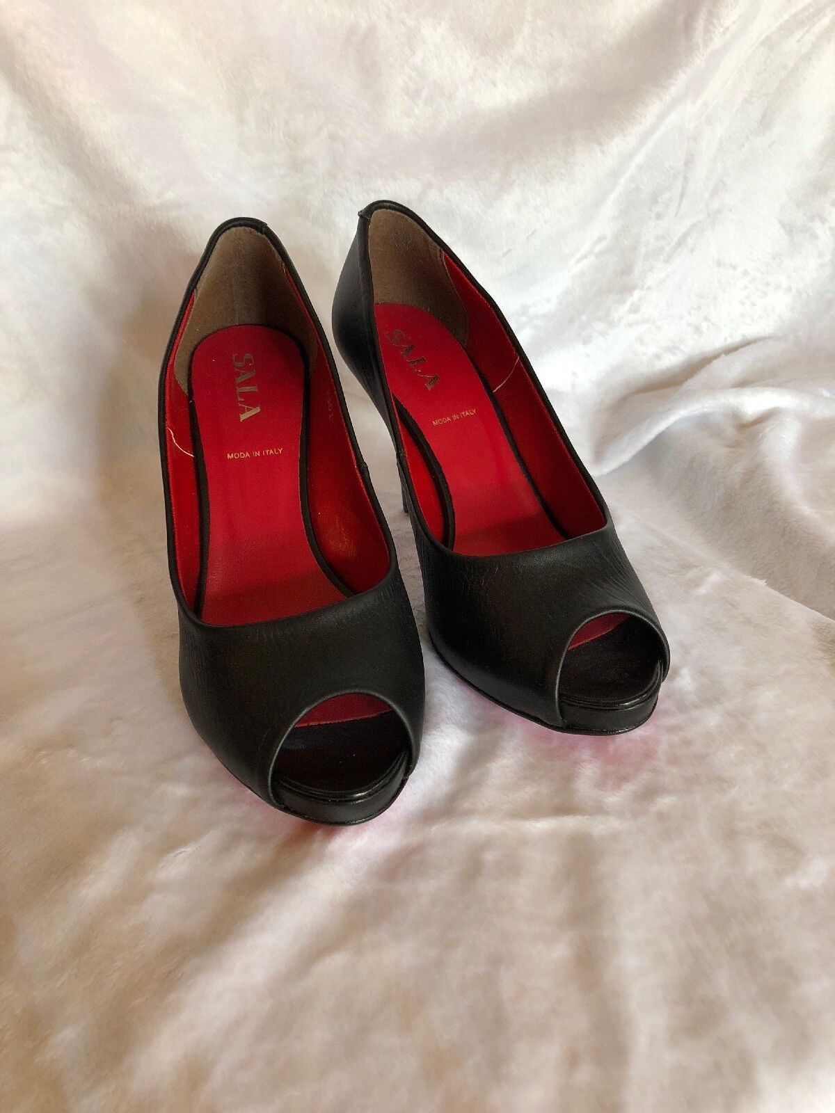 Made In  Black Lether Womens shoes Open Toe Heels shoes Size 7