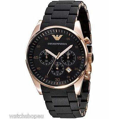 NEW EMPORIO ARMANI AR5905 ROSE GOLD MENS CHRONOGRAPH WATCH - 2 YEAR WARRANTY