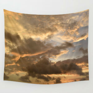 Wall-Tapestry-Wall-Hanging-Printed-USA-Photo-38-sky-orange-sunset-clouds-L-Dumas